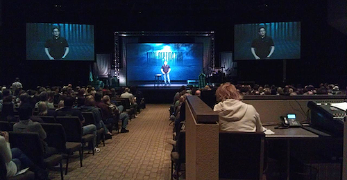 Example of a very large center screen with a projected pastor (about 8 1/2 feet tall on the screen) that provides the suspension of disbelief for the viewer